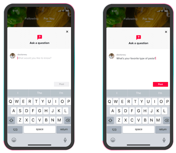 How to ask a question using TikTok's Q&A feature