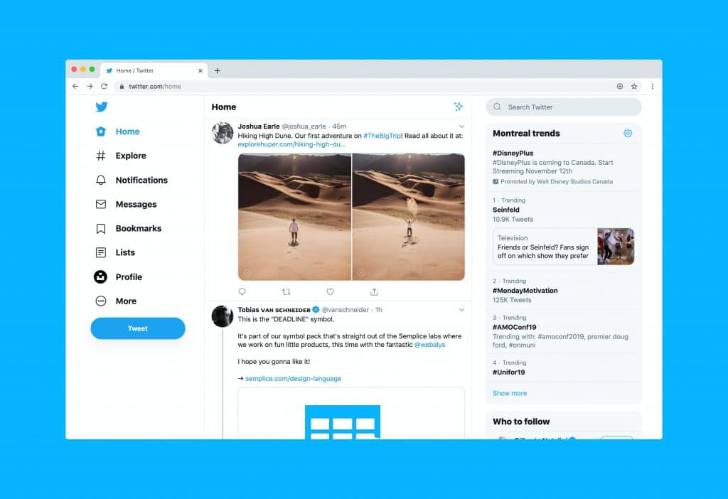 Customizing yourself with the beautiful Twitter desktop homepage, of course!